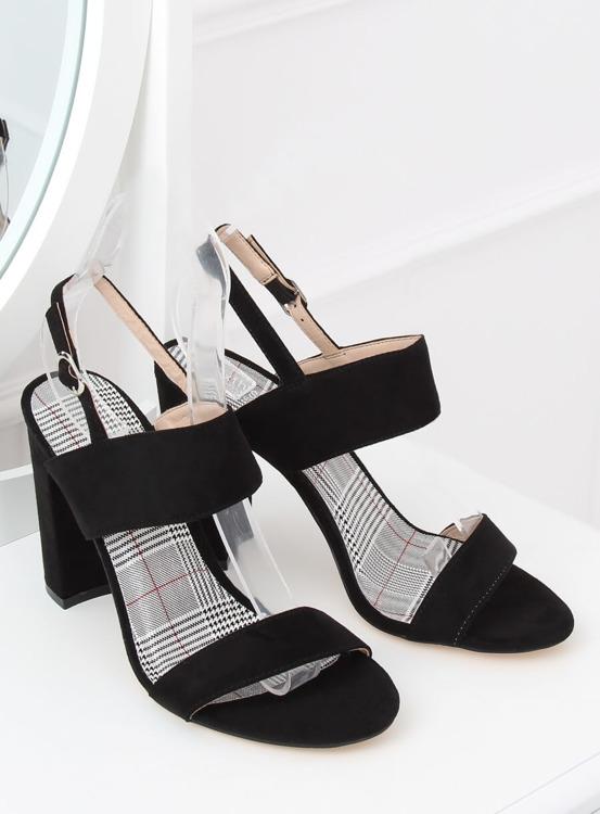 Sandałki na słupku czarne S116 BLACK