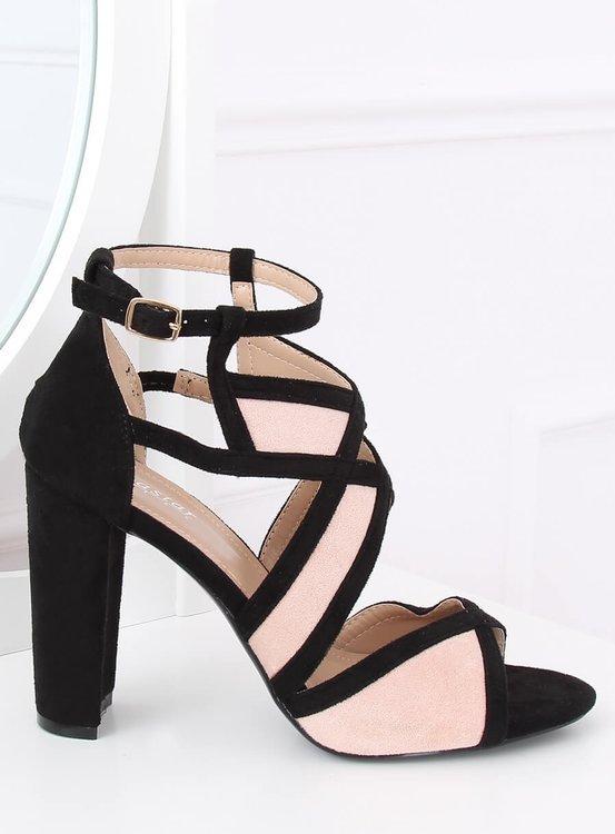 Sandałki na słupku czarno-rózowe LE071P PINK