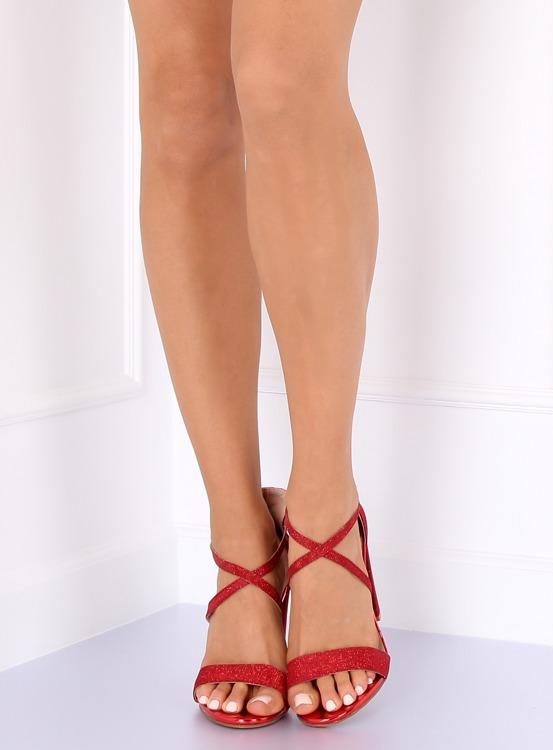 Sandałki na słupku czerwone NC791 RED