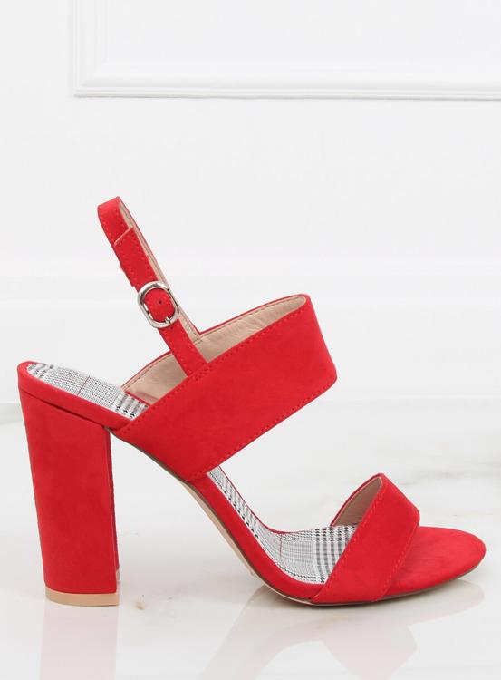 Sandałki na słupku czerwone S116 RED
