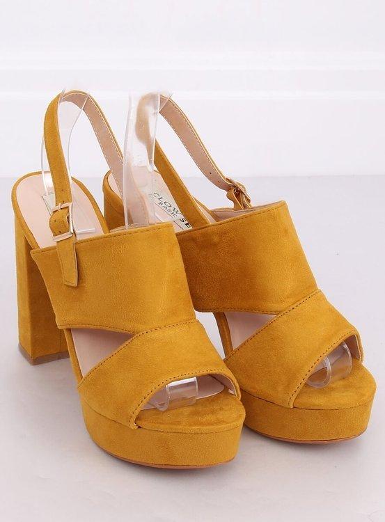 Sandałki na słupku miodowe 9R02 YELLOW
