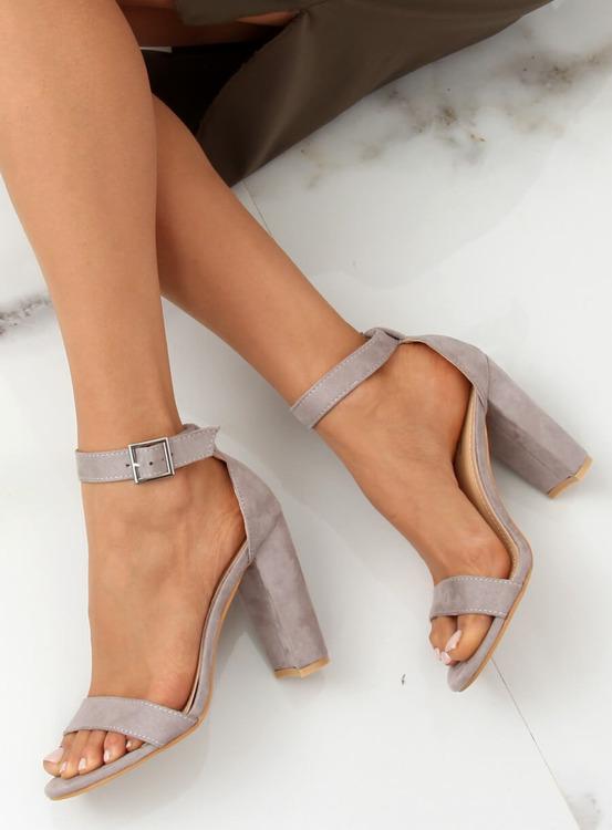 Sandałki na słupku szare 369-18 GREY