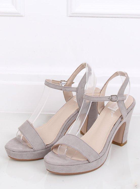 Sandałki na słupku szare NS032P GREY