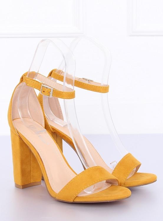 Sandałki na słupku żółte Y2385-27 YELLOW