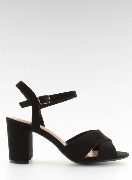 Sandałki na szerokim obcasie czarne 100-005SA-2 BLACK