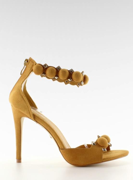 Sandałki na szpilce Funny balls LE022 Yellow