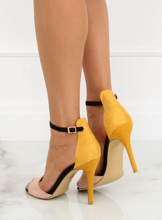Sandałki na szpilce WD100P YELLOW