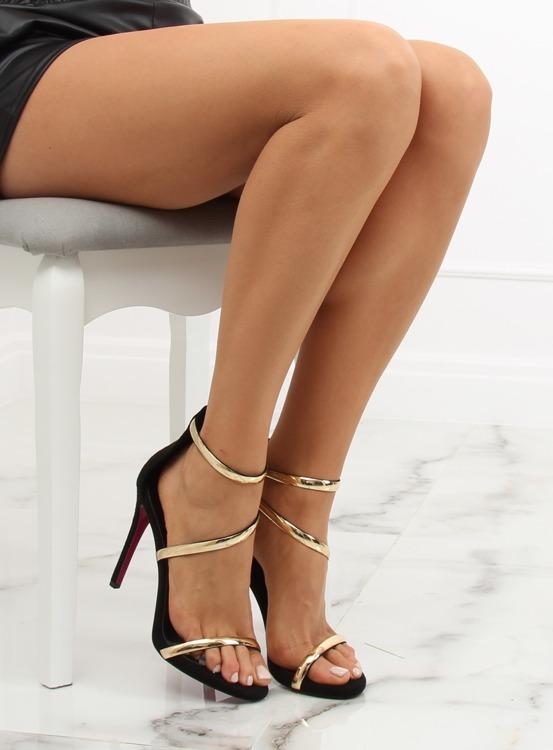 Sandałki na szpilce czarne 988-58 BLACK