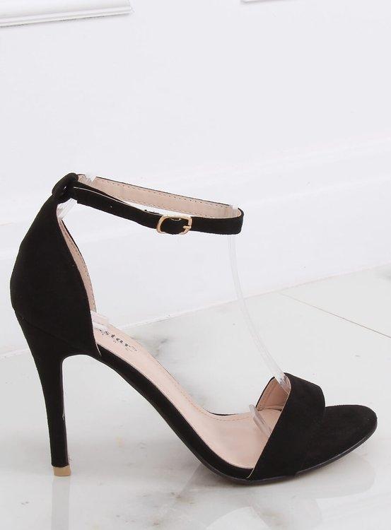 Sandałki na szpilce czarne GG-86P BLACK
