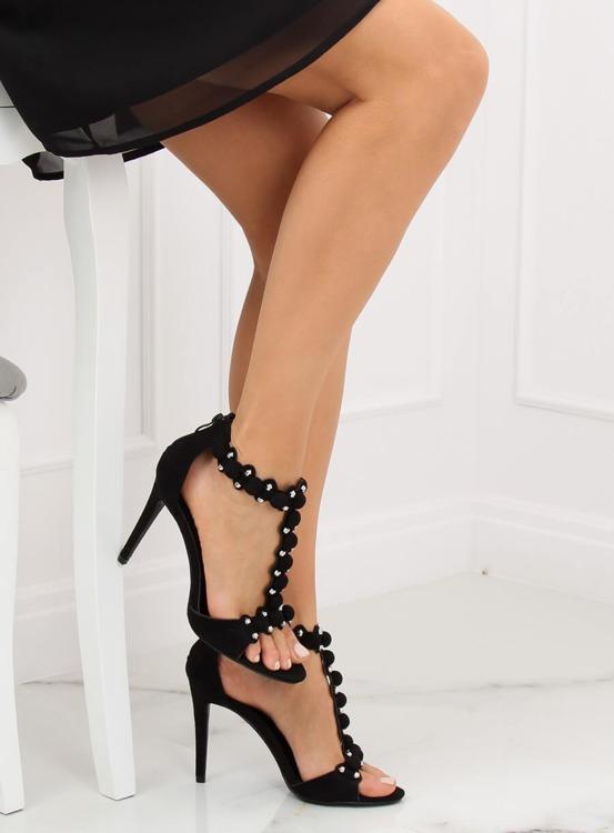 Sandałki na szpilce czarne GH-5A5733 BLACK