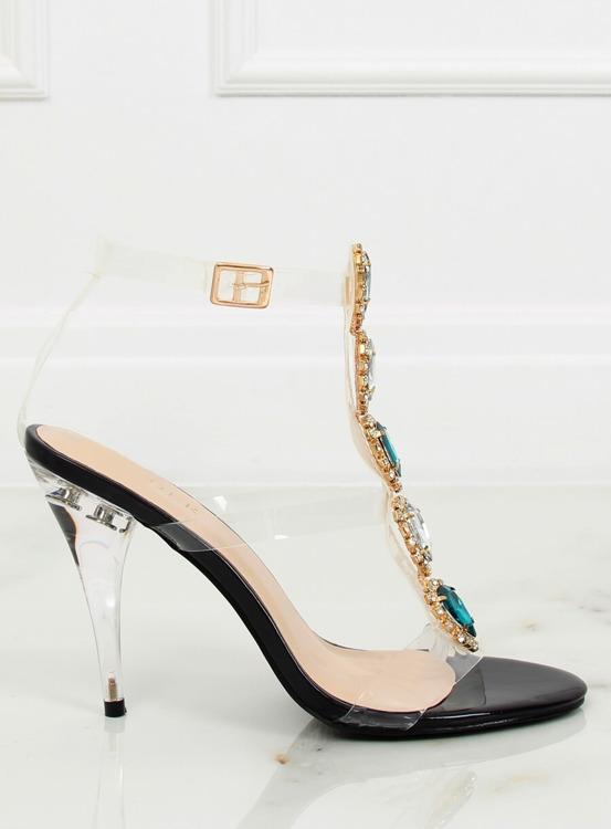 Sandałki na szpilce czarne KSL701 BLACK