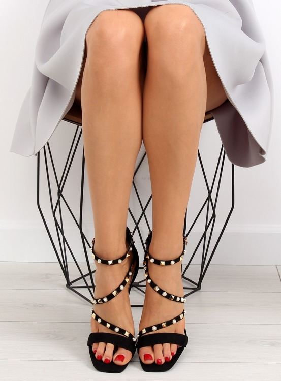 Sandałki na szpilce czarne L6099 BLACK
