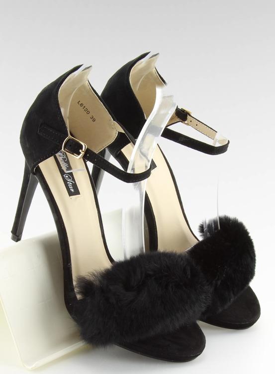 Sandałki na szpilce czarne L6120 BLACK