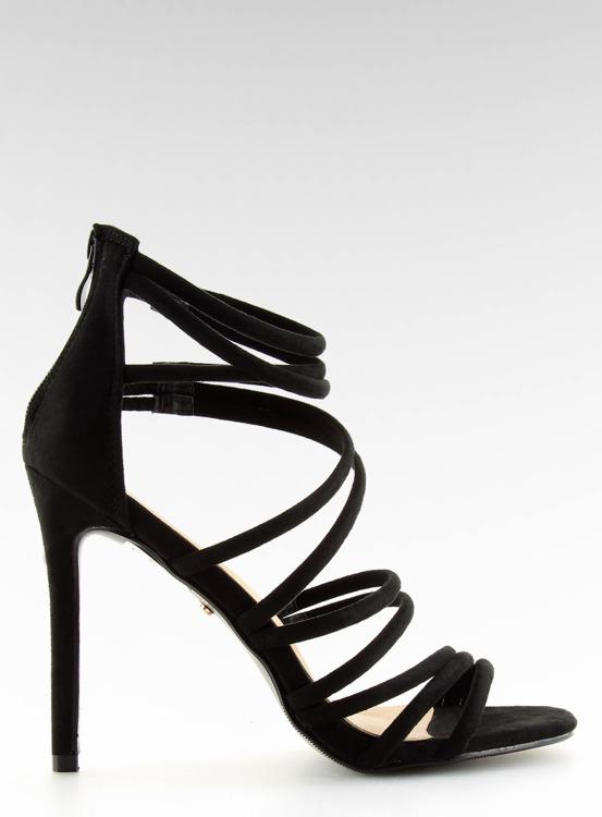 Sandałki na szpilce czarne LE039 BLACK