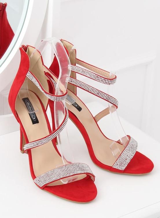 Sandałki na szpilce czerwone C-28 RED