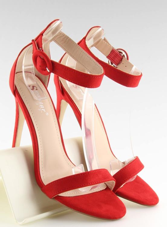 Sandałki na szpilce czerwone NF-17 RED