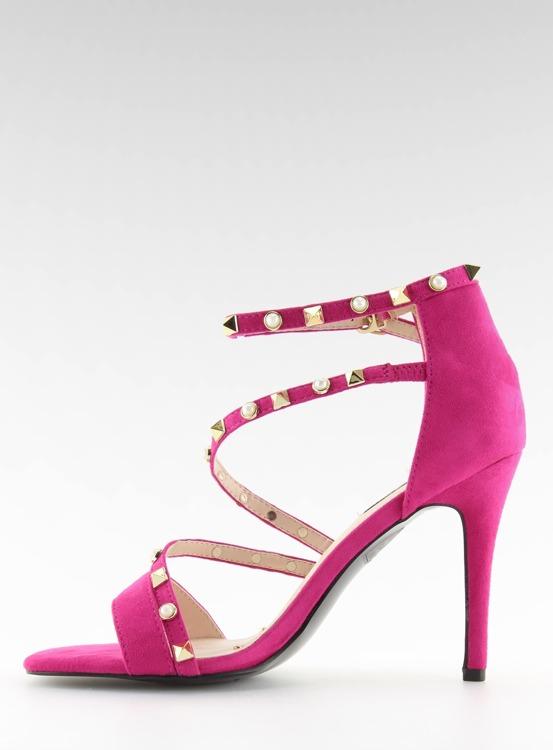 Sandałki na szpilce fuksjowe L6099 FUSHIA
