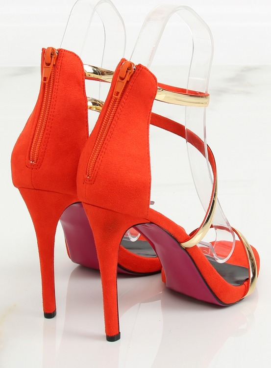 Sandałki na szpilce pomarańczowe 988-58 ORANGE