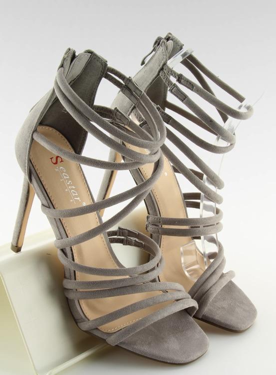 Sandałki na szpilce szare LE039 GREY