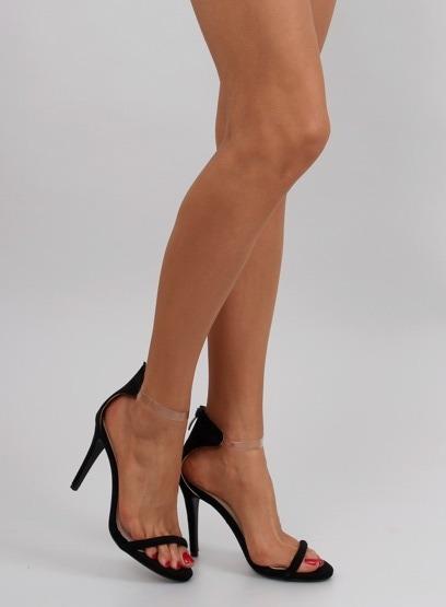 Sandałki na szpilce transparentny pasek 5075 BLACK