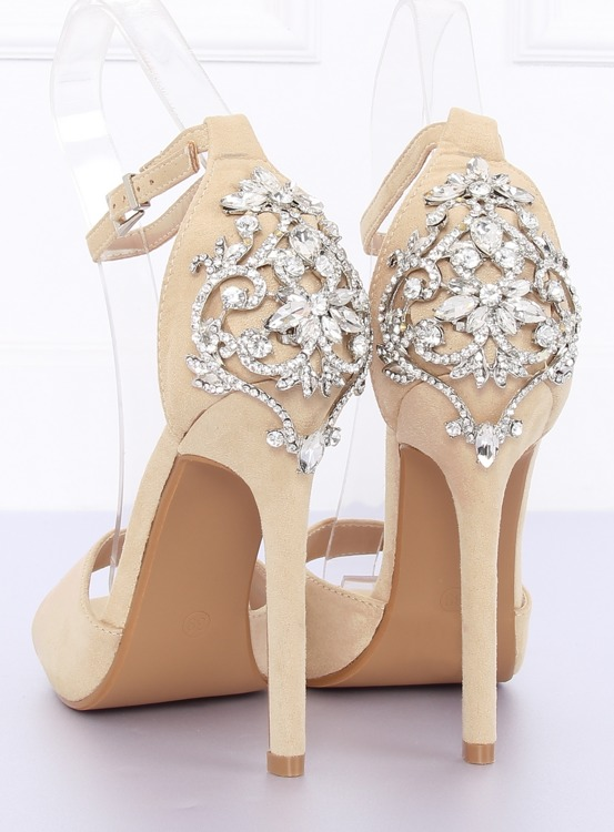 Sandałki na szpilce z kamieniami beżowe 9509-502 BEIGE
