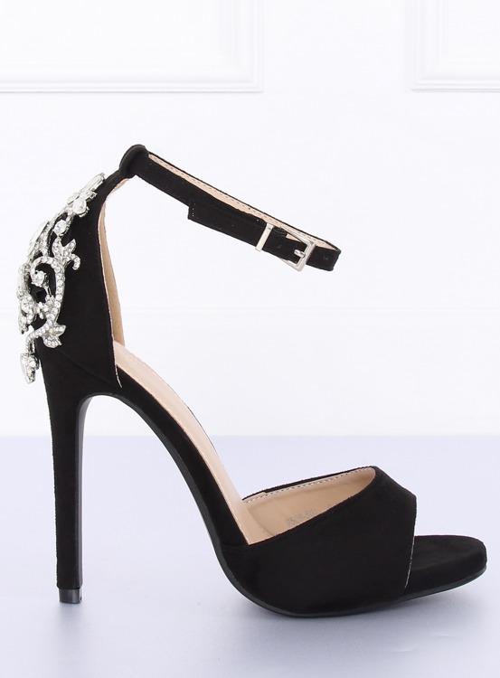 Sandałki na szpilce z kamieniami czarne 9509-502 BLACK