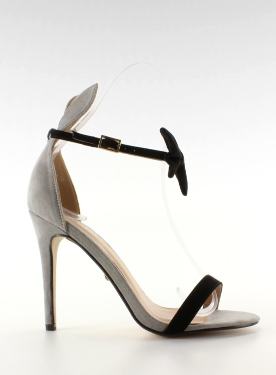 Sandałki na szpilce z uszkami ZJ-15P Grey