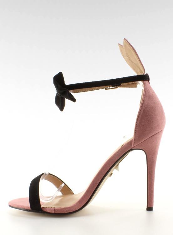 Sandałki na szpilce z uszkami ZJ-15P Pink