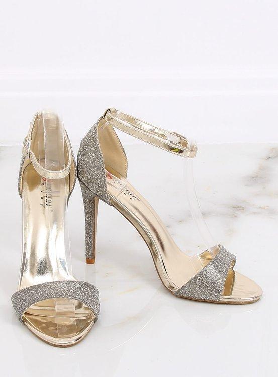 Sandałki na szpilce złote TU130 GOLD