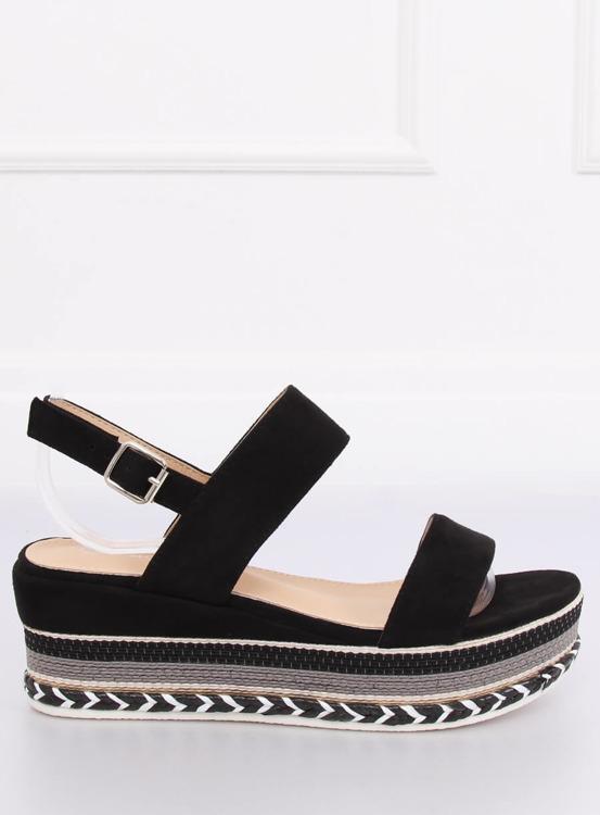 Sandałki na wysokiej podeszwie czarne 9073 BLACK
