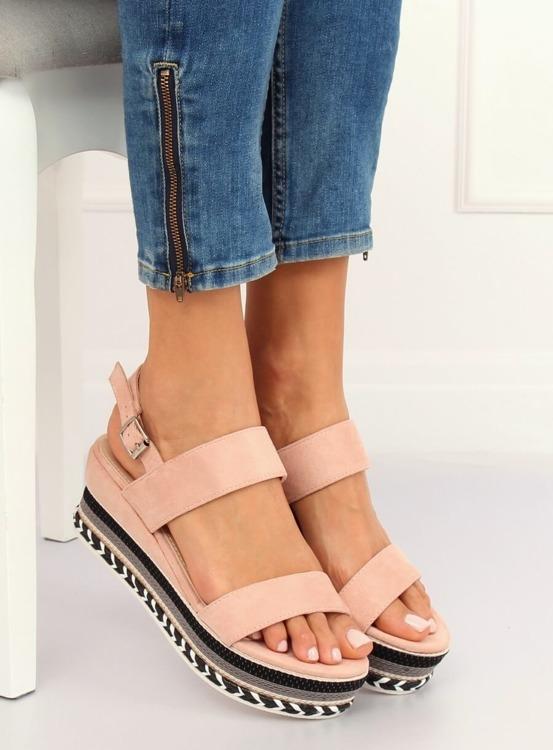 Sandałki na wysokiej podeszwie różowe 9073 PINK