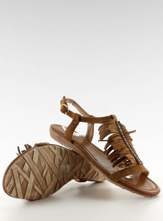 Sandałki w indiańskim stylu k1626301 CAMEL