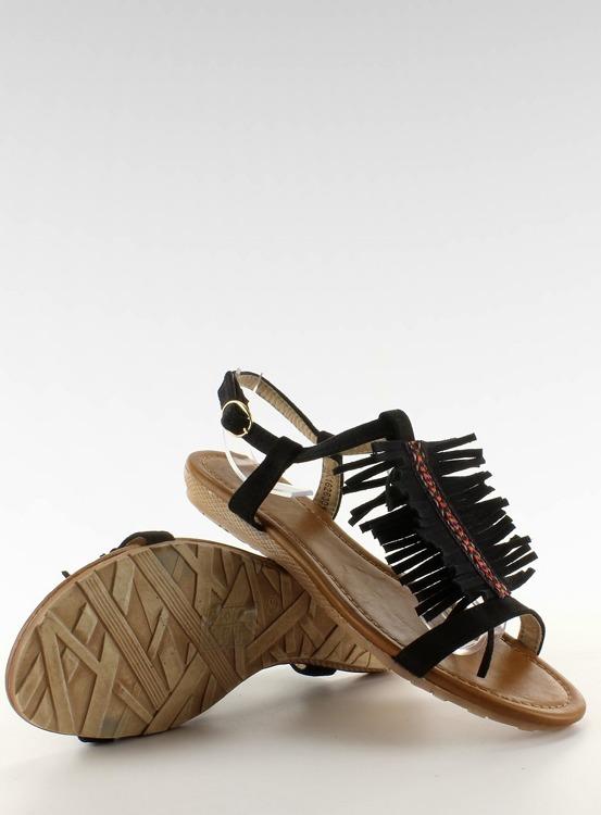 Sandałki w indiańskim stylu k1626301 NEGRO