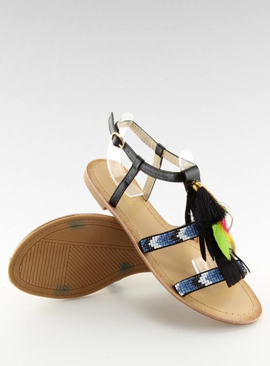 Sandałki w stylu boho czarne LQ-2662 BLACK