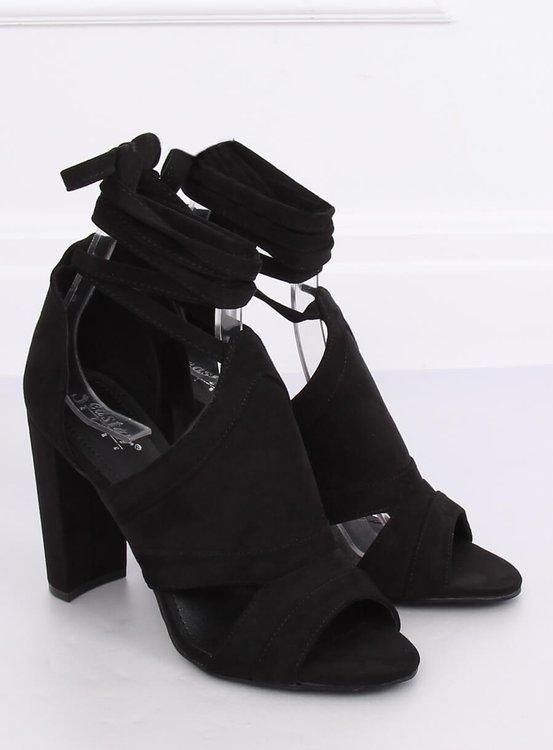 Sandałki wiązane na kostkę czarne NS112P BLACK