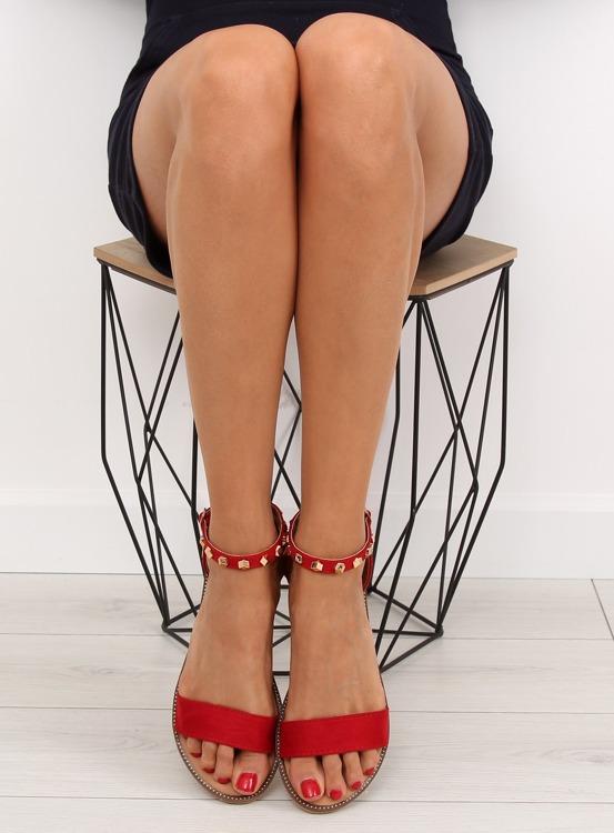 Sandałki z ćwiekami czerwone 117-11 RED