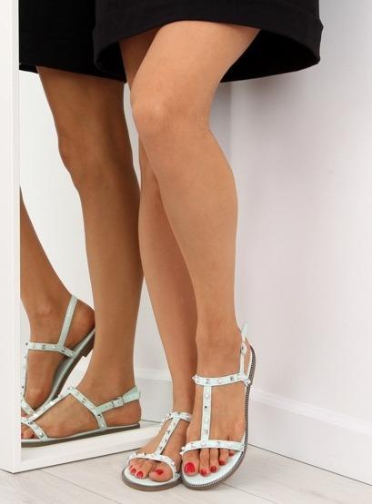 Sandałki z ćwiekami miętowe S-375 GREEN