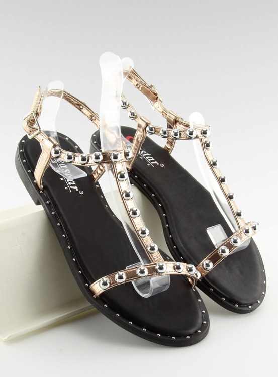 Sandałki z ćwiekami różowe DD88P CHAMPAGNE