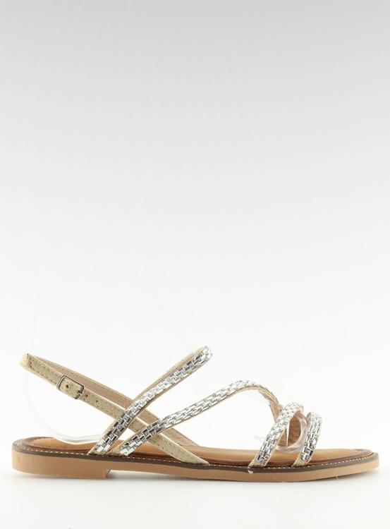 Sandałki z cyrkoniami beżowe FM814 APRICOT