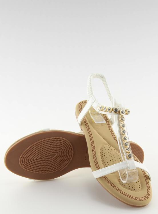 Sandałki z cyrkoniami białe AS10875 WHITE