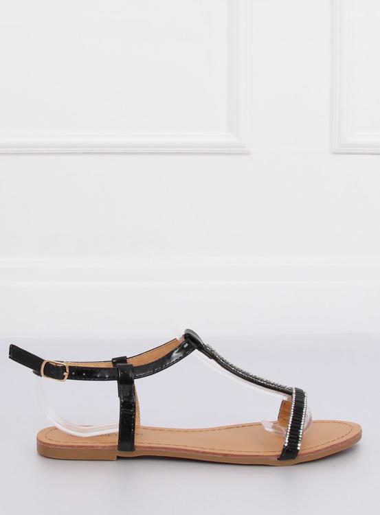 Sandałki z cyrkoniami czarne SY644 BLACK