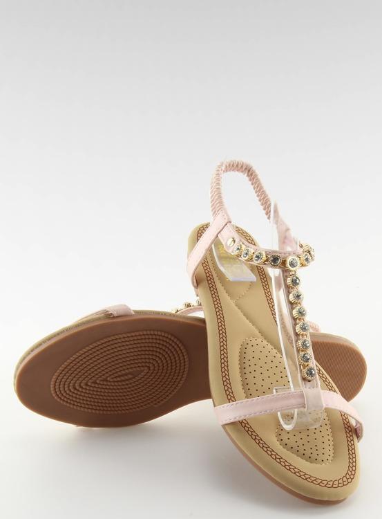 Sandałki z cyrkoniami różowe AS10875 PINK