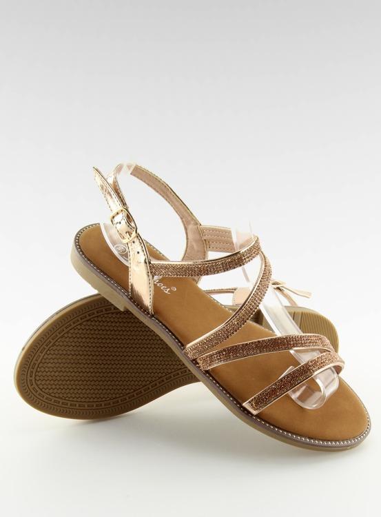 Sandałki z cyrkoniami różowe K952 CHAMPAGNE