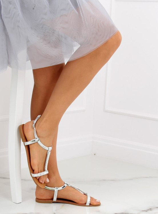 Sandałki z cyrkoniami srebrne SY644 SILVER