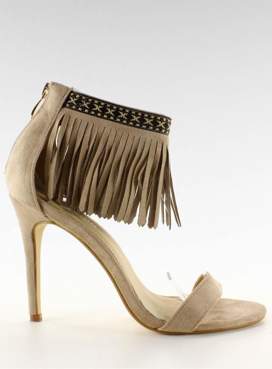 Sandałki z frędzlami etniczny wzór GD-16-5247 Beige