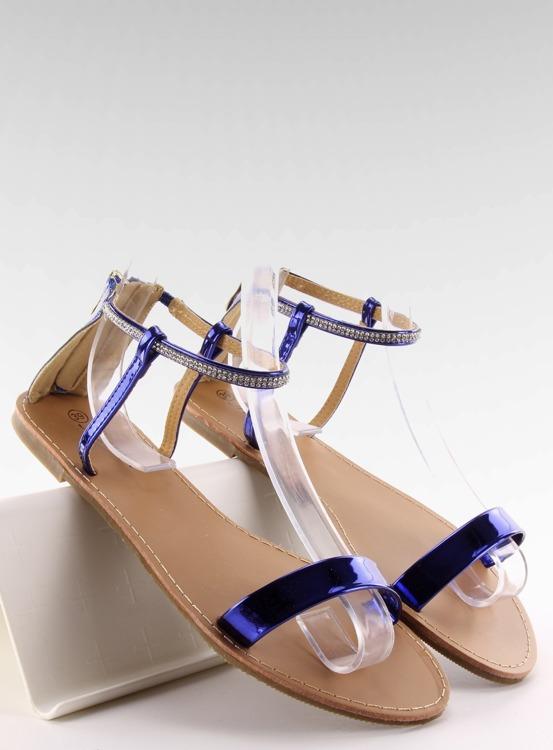 Sandałki z kamieniami przy kostce s060021 ROYAL BLUE