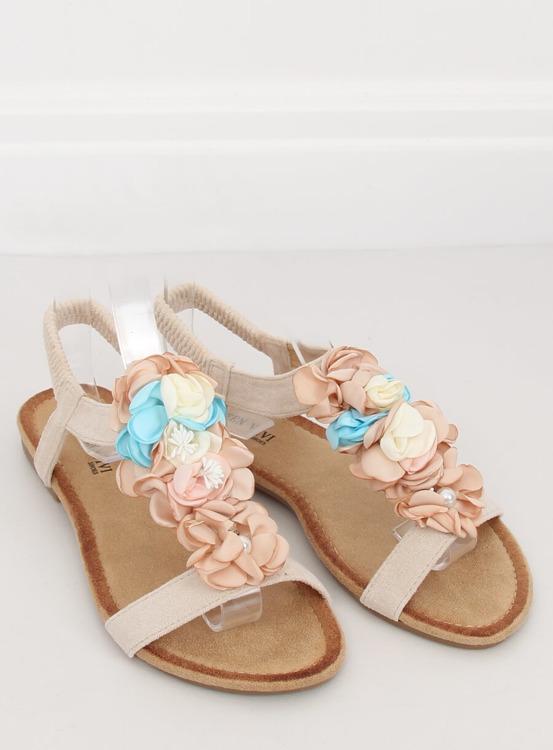 Sandałki z kwiatami beżowe 218-174 BEIGE