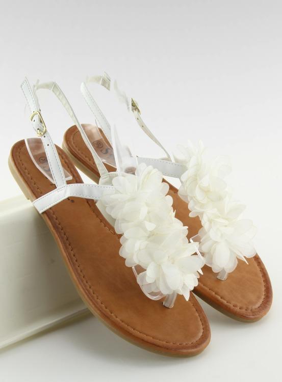 Sandałki z kwiatkami białe CK36P WHITE