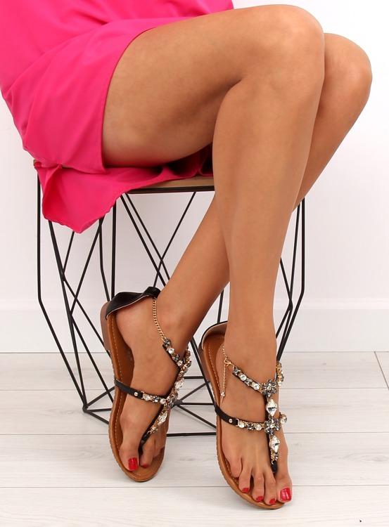 Sandałki z łańcuszkiem przy kostce JH37 BLACK