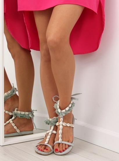 Sandałki z muszelkami niebieskie 8225 L.BLUE